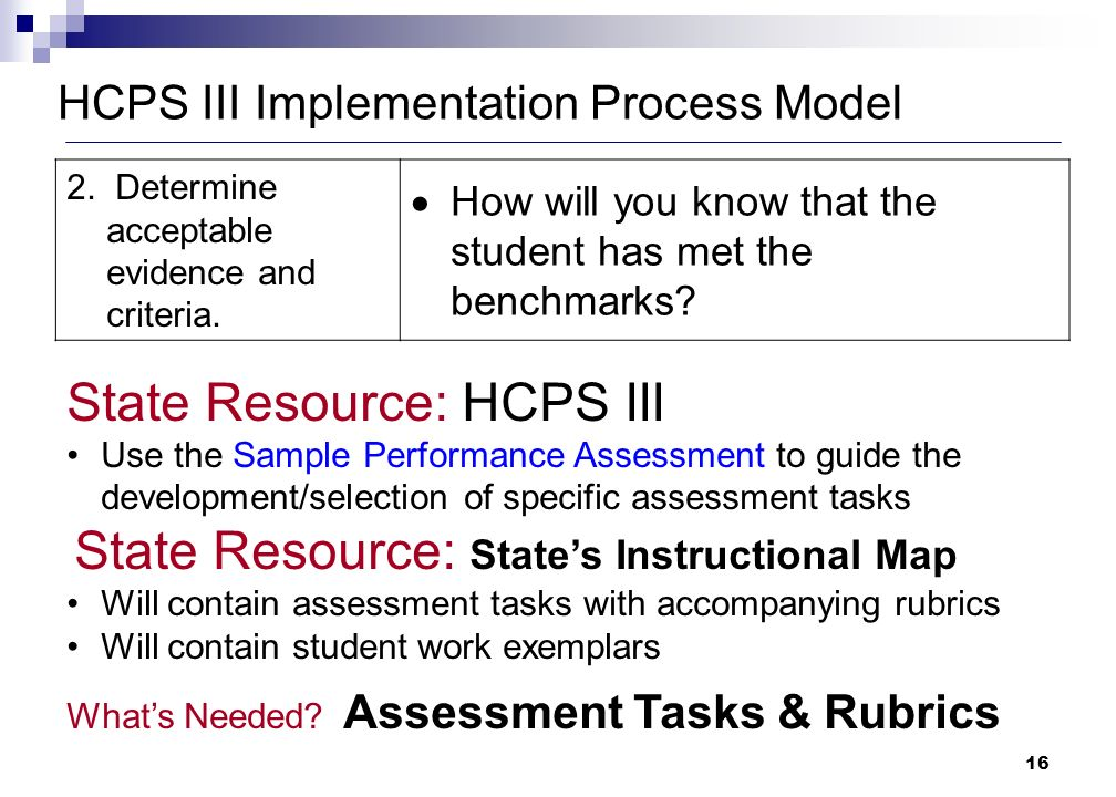 16 HCPS III Implementation Process Model 2. Determine acceptable evidence and criteria.