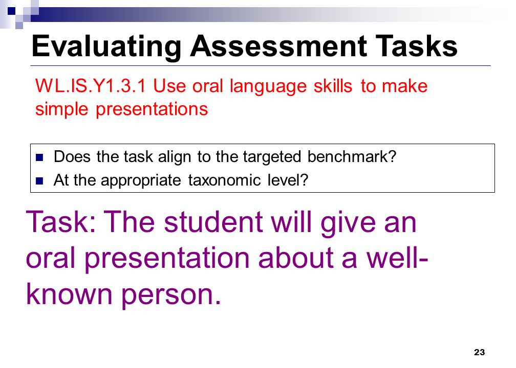 23 Evaluating Assessment Tasks Does the task align to the targeted benchmark.