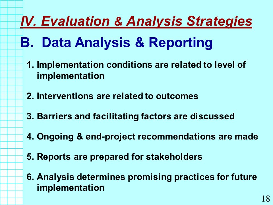 IV. Evaluation & Analysis Strategies B.