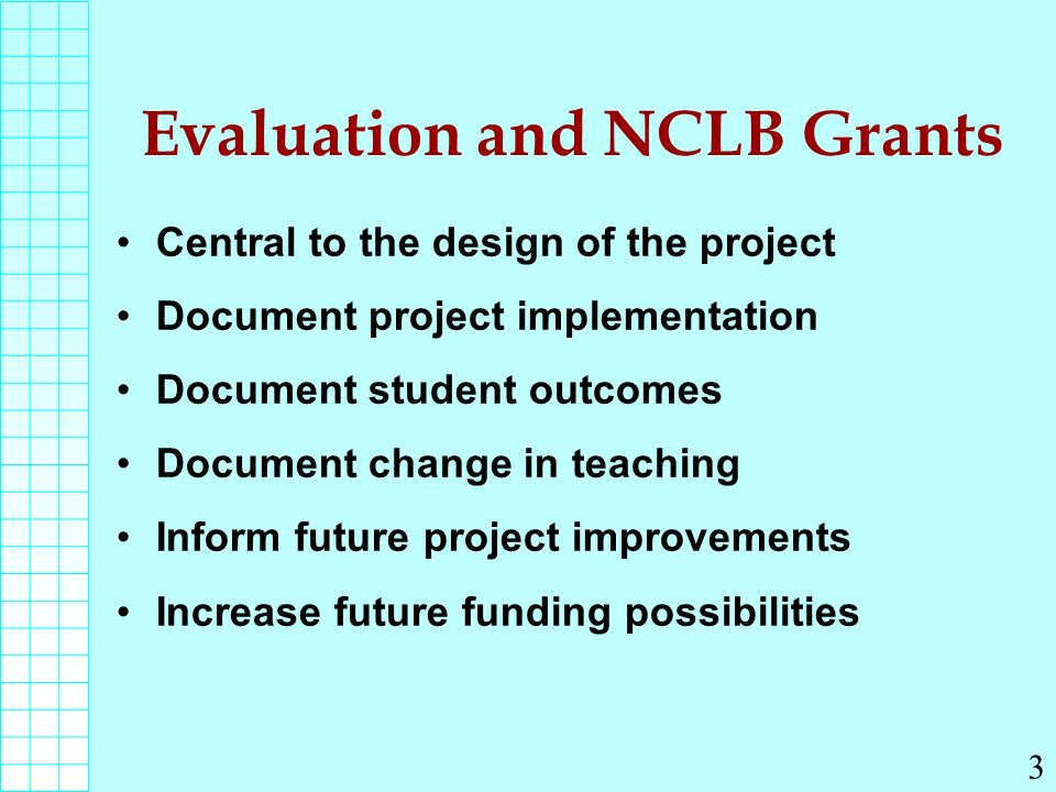 Evaluation and NCLB Grants Central to the design of the project Document project implementation Document student outcomes Document change in teaching Inform future project improvements Increase future funding possibilities 3