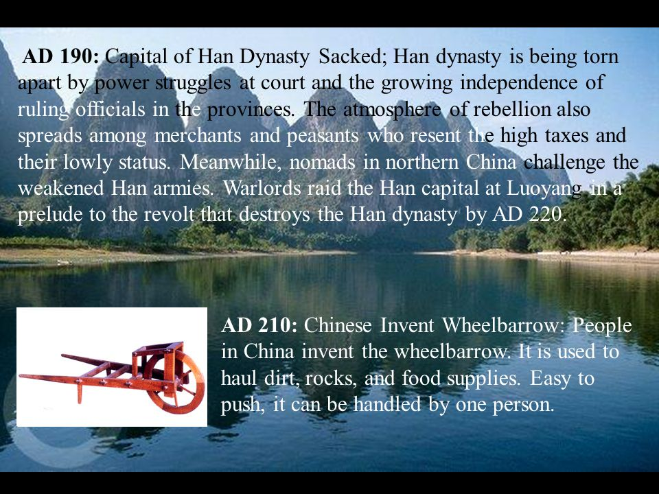 AD 190: Capital of Han Dynasty Sacked; Han dynasty is being torn apart by power struggles at court and the growing independence of ruling officials in