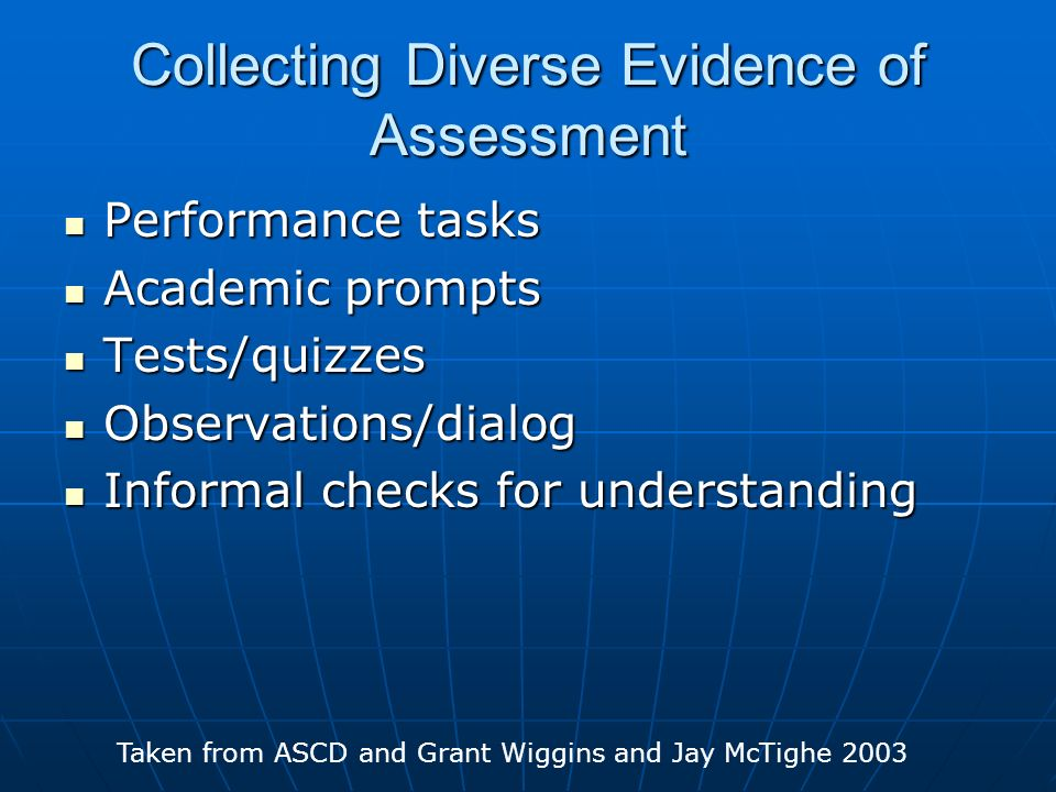 Collecting Diverse Evidence of Assessment Performance tasks Performance tasks Academic prompts Academic prompts Tests/quizzes Tests/quizzes Observatio