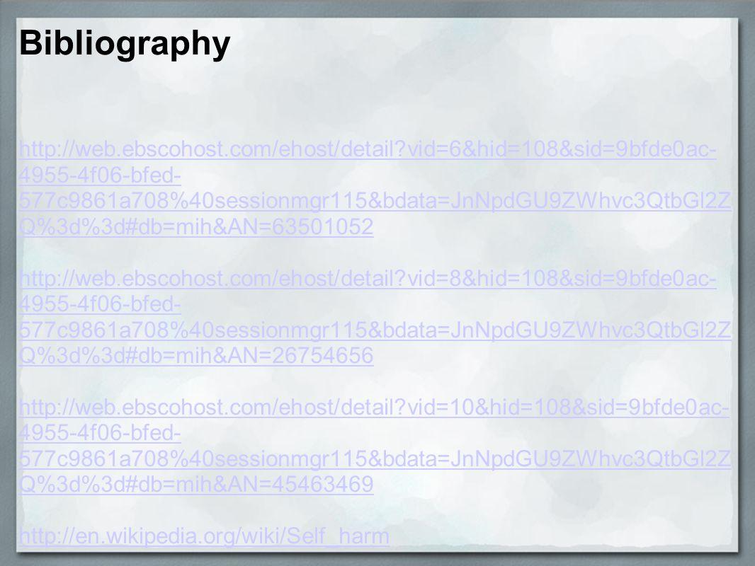 Bibliography http://web.ebscohost.com/ehost/detail?vid=6&hid=108&sid=9bfde0ac- 4955-4f06-bfed- 577c9861a708%40sessionmgr115&bdata=JnNpdGU9ZWhvc3QtbGl2