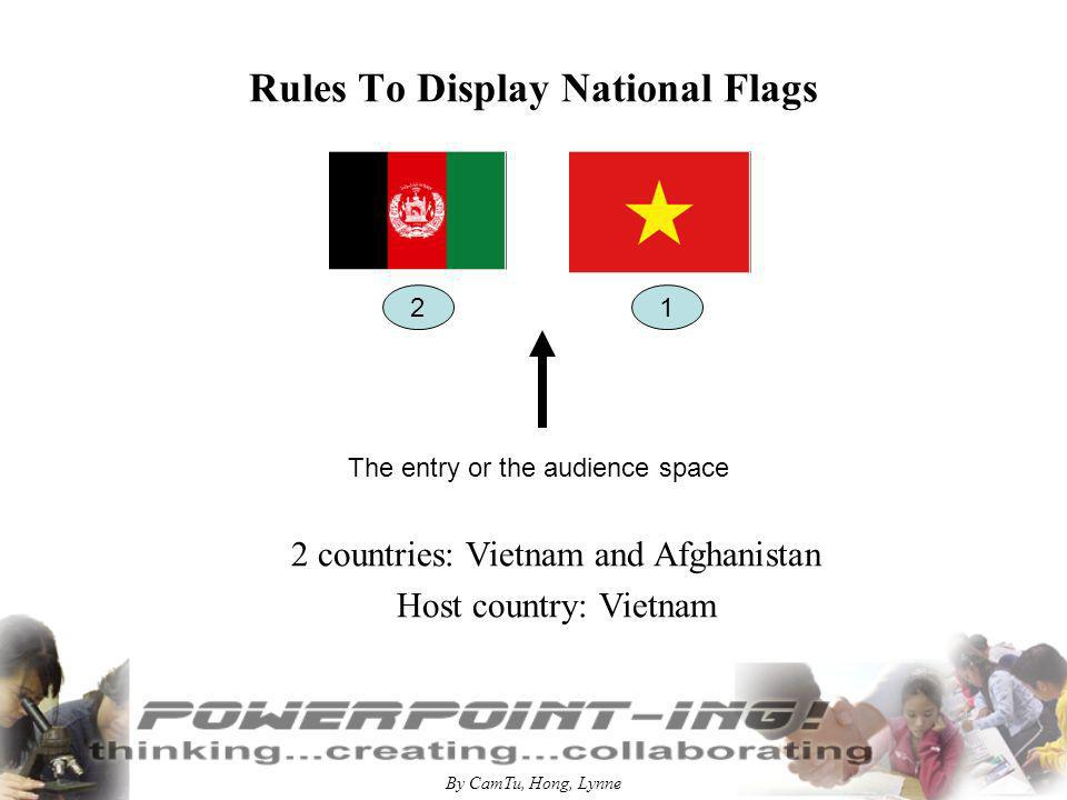 By CamTu, Hong, Lynne Rules to display national flags The entry or the audience space Many countries: Vietnam, Afghanistan, Belgium, Canada, Denmark, Egypt Host country: Vietnam 1 2 3 4 5 6