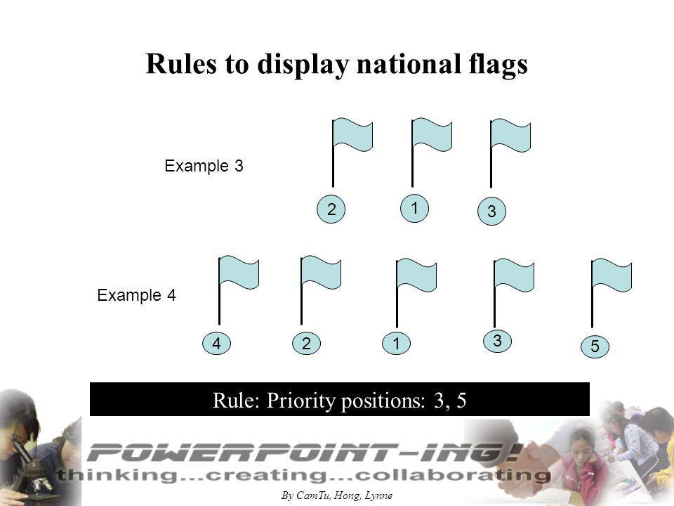 By CamTu, Hong, Lynne Rules to display national flags Example 5 Flags of members of international organizations Rule: in an aphabetical order, from the left to the right, the last for organizational flag 32 4 1 5 The audience