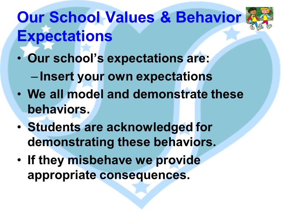 Our School Values & Behavior Expectations Our schools expectations are: –Insert your own expectations We all model and demonstrate these behaviors.