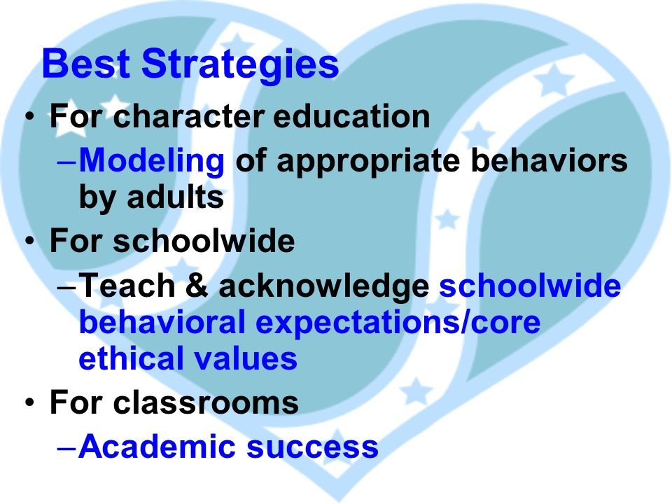Best Strategies For character education –Modeling of appropriate behaviors by adults For schoolwide –Teach & acknowledge schoolwide behavioral expectations/core ethical values For classrooms –Academic success