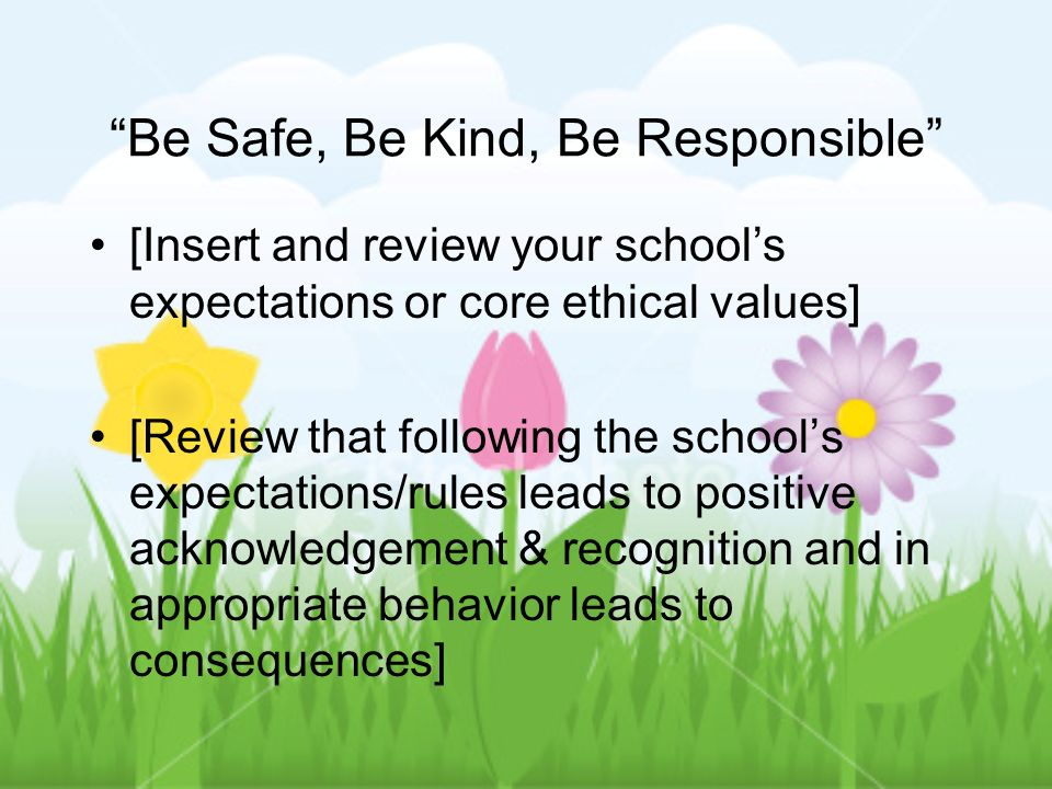 Be Safe, Be Kind, Be Responsible [Insert and review your schools expectations or core ethical values] [Review that following the schools expectations/rules leads to positive acknowledgement & recognition and in appropriate behavior leads to consequences]