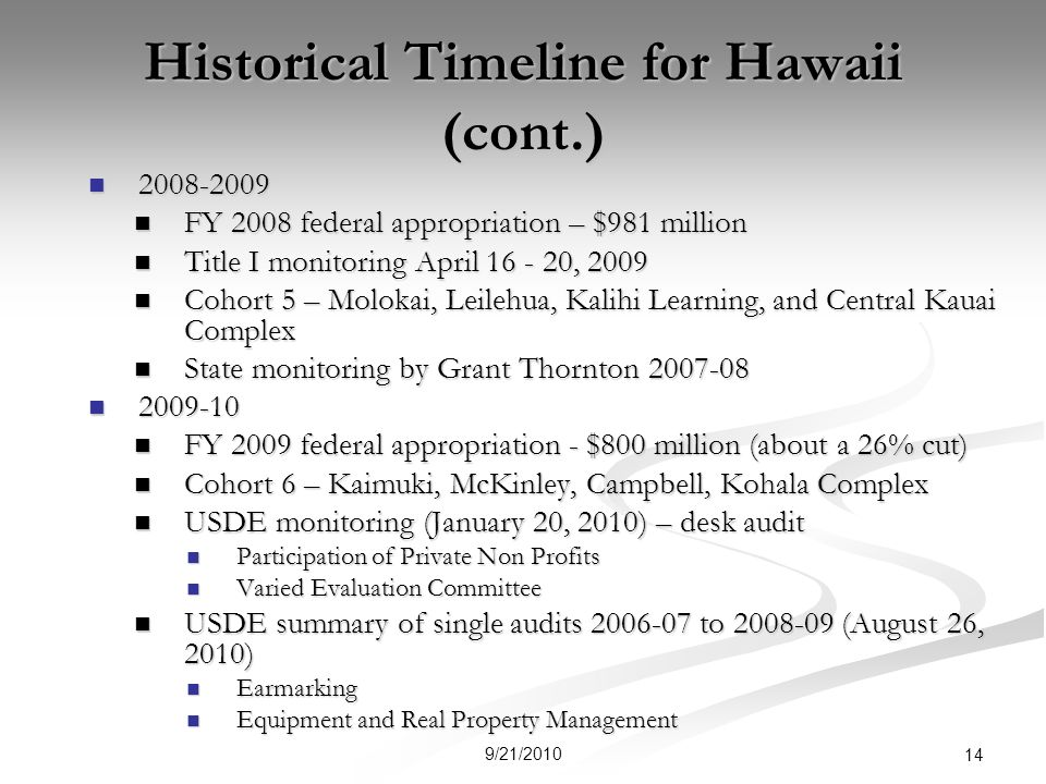 Historical Timeline for Hawaii (cont.) FY 2008 federal appropriation – $981 million FY 2008 federal appropriation – $981 million Title I monitoring April , 2009 Title I monitoring April , 2009 Cohort 5 – Molokai, Leilehua, Kalihi Learning, and Central Kauai Complex Cohort 5 – Molokai, Leilehua, Kalihi Learning, and Central Kauai Complex State monitoring by Grant Thornton State monitoring by Grant Thornton FY 2009 federal appropriation - $800 million (about a 26% cut) FY 2009 federal appropriation - $800 million (about a 26% cut) Cohort 6 – Kaimuki, McKinley, Campbell, Kohala Complex Cohort 6 – Kaimuki, McKinley, Campbell, Kohala Complex USDE monitoring (January 20, 2010) – desk audit USDE monitoring (January 20, 2010) – desk audit Participation of Private Non Profits Participation of Private Non Profits Varied Evaluation Committee Varied Evaluation Committee USDE summary of single audits to (August 26, 2010) USDE summary of single audits to (August 26, 2010) Earmarking Earmarking Equipment and Real Property Management Equipment and Real Property Management 9/21/