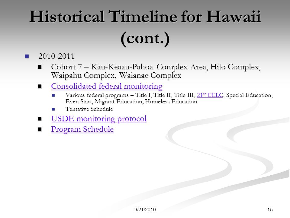 Historical Timeline for Hawaii (cont.) 2010-2011 2010-2011 Cohort 7 – Kau-Keaau-Pahoa Complex Area, Hilo Complex, Waipahu Complex, Waianae Complex Cohort 7 – Kau-Keaau-Pahoa Complex Area, Hilo Complex, Waipahu Complex, Waianae Complex Consolidated federal monitoring Consolidated federal monitoring Consolidated federal monitoring Consolidated federal monitoring Various federal programs – Title I, Title II, Title III, 21 st CCLC, Special Education, Even Start, Migrant Education, Homeless Education Various federal programs – Title I, Title II, Title III, 21 st CCLC, Special Education, Even Start, Migrant Education, Homeless Education21 st CCLC21 st CCLC Tentative Schedule Tentative Schedule USDE monitoring protocol USDE monitoring protocol USDE monitoring protocol USDE monitoring protocol Program Schedule Program Schedule Program Schedule Program Schedule 159/21/2010