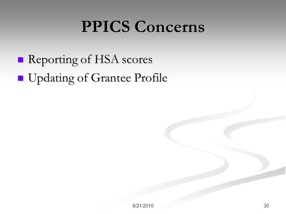 PPICS Concerns Reporting of HSA scores Reporting of HSA scores Updating of Grantee Profile Updating of Grantee Profile 309/21/2010