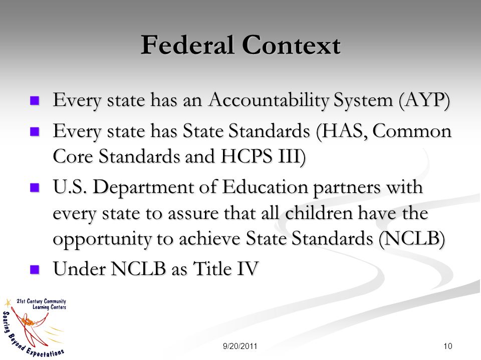 Federal Context Every state has an Accountability System (AYP) Every state has an Accountability System (AYP) Every state has State Standards (HAS, Common Core Standards and HCPS III) Every state has State Standards (HAS, Common Core Standards and HCPS III) U.S.