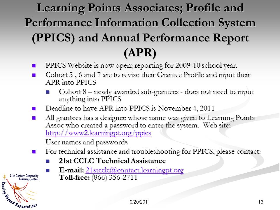 Learning Points Associates; Profile and Performance Information Collection System (PPICS) and Annual Performance Report (APR) PPICS Website is now open; reporting for school year.