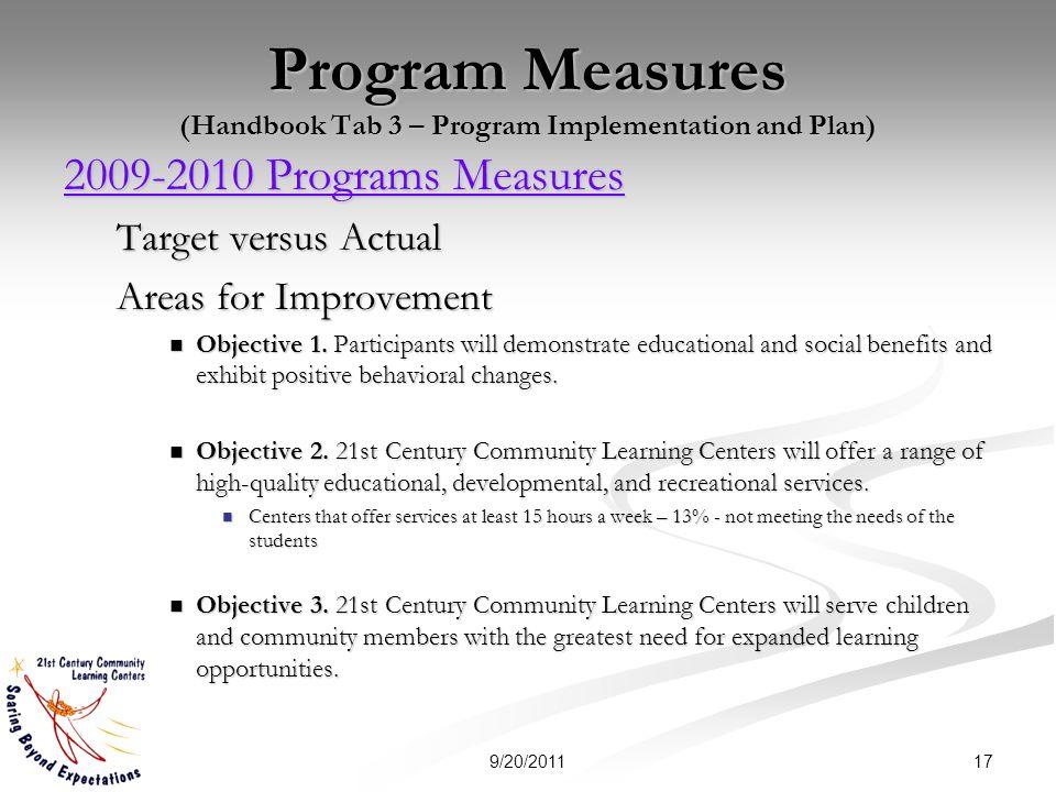 Program Measures (Handbook Tab 3 – Program Implementation and Plan) 2009-2010 Programs Measures 2009-2010 Programs Measures Target versus Actual Areas