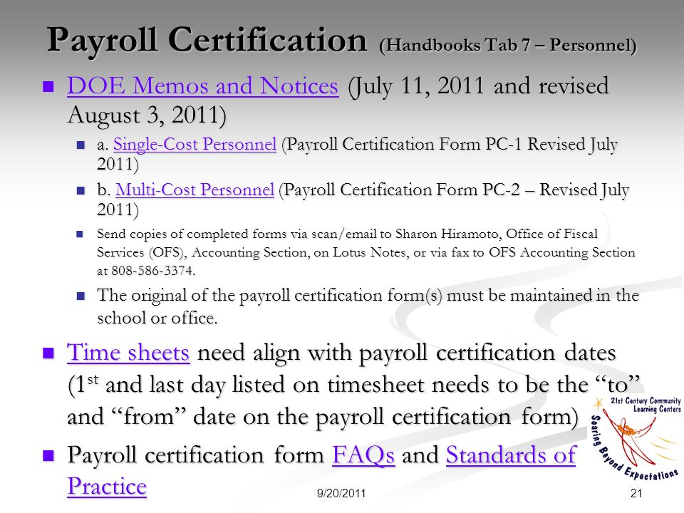 Payroll Certification (Handbooks Tab 7 – Personnel) DOE Memos and Notices (July 11, 2011 and revised August 3, 2011) DOE Memos and Notices (July 11, 2011 and revised August 3, 2011) DOE Memos and Notices DOE Memos and Notices a.