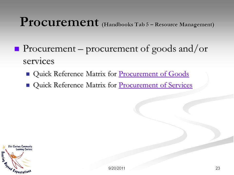 Procurement (Handbooks Tab 5 – Resource Management) Procurement – procurement of goods and/or services Procurement – procurement of goods and/or servi