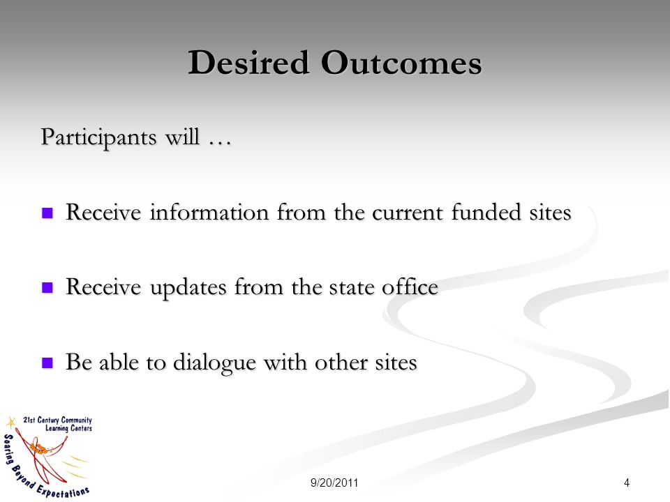 Desired Outcomes Participants will … Receive information from the current funded sites Receive information from the current funded sites Receive updates from the state office Receive updates from the state office Be able to dialogue with other sites Be able to dialogue with other sites 49/20/2011