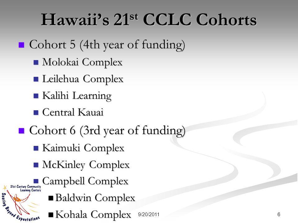 Hawaiis 21 st CCLC Cohorts Cohort 5 (4th year of funding) Cohort 5 (4th year of funding) Molokai Complex Molokai Complex Leilehua Complex Leilehua Com