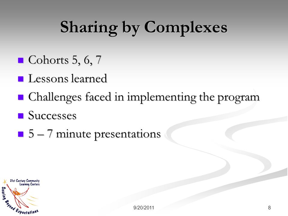 Sharing by Complexes Cohorts 5, 6, 7 Cohorts 5, 6, 7 Lessons learned Lessons learned Challenges faced in implementing the program Challenges faced in
