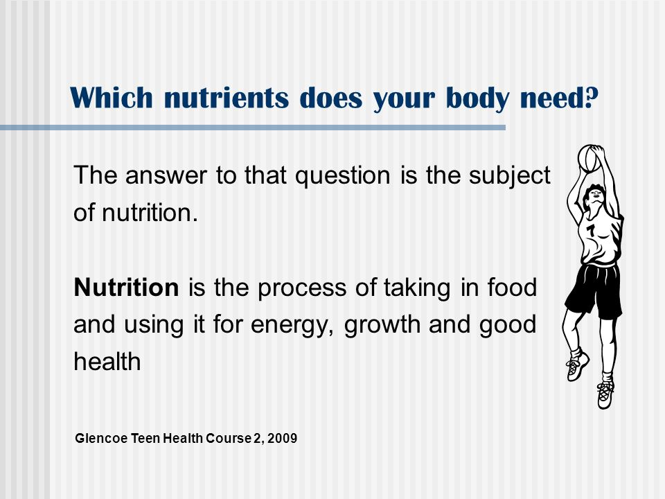Key Nutrients for Your Body There are six key macronutrients that your body needs to function.