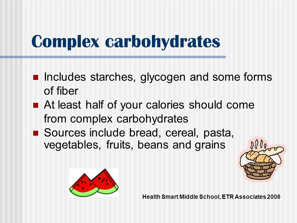 Simple carbohydrates Are sugars such as glucose, fructose and sucrose These should be limited because they dont provide a lot of vitamins and minerals for the body.