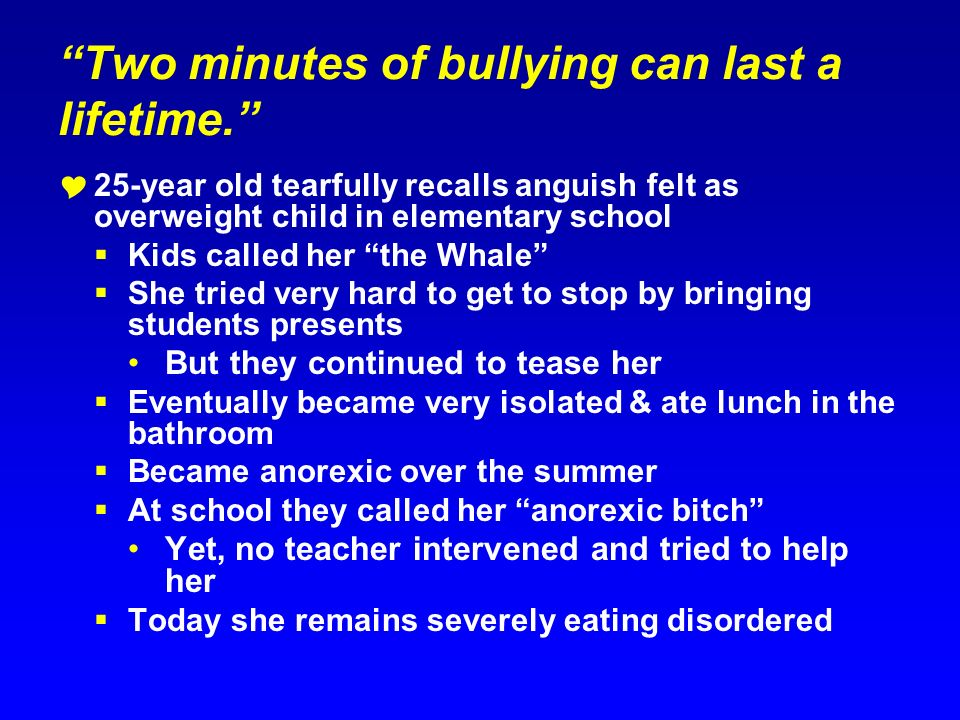 Two minutes of bullying can last a lifetime. 25-year old tearfully recalls anguish felt as overweight child in elementary school Kids called her the W