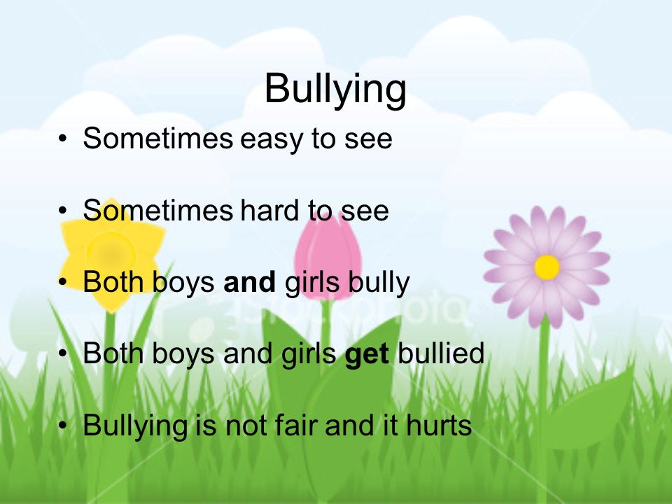 Bullying Sometimes easy to see Sometimes hard to see Both boys and girls bully Both boys and girls get bullied Bullying is not fair and it hurts