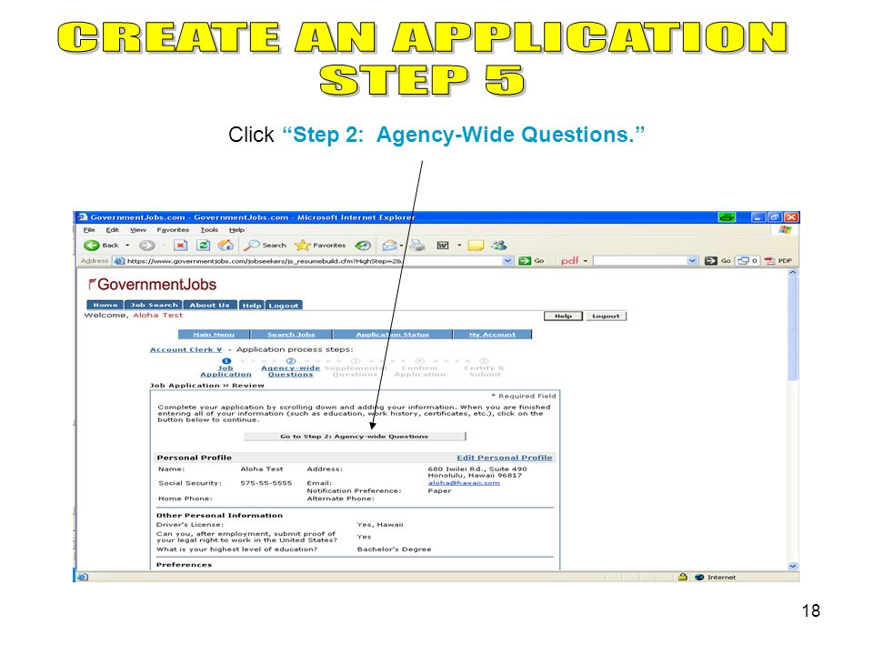 18 Click Step 2: Agency-Wide Questions.