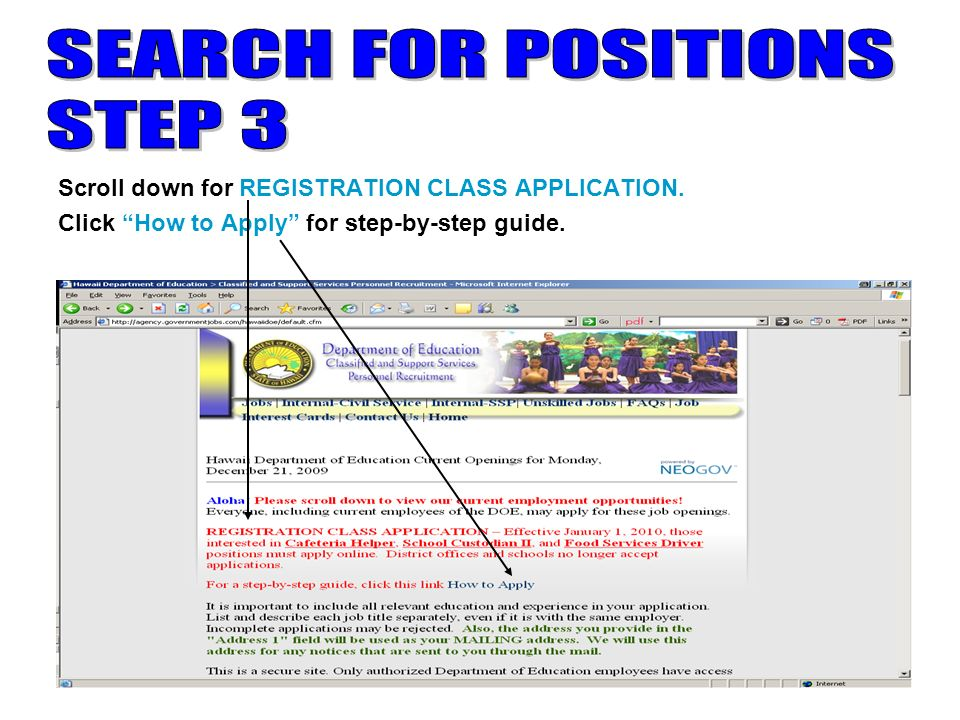 5 Scroll down for REGISTRATION CLASS APPLICATION. Click How to Apply for step-by-step guide.