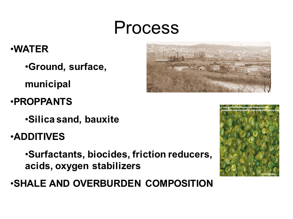 Process WATER Ground, surface, municipal PROPPANTS Silica sand, bauxite ADDITIVES Surfactants, biocides, friction reducers, acids, oxygen stabilizers SHALE AND OVERBURDEN COMPOSITION