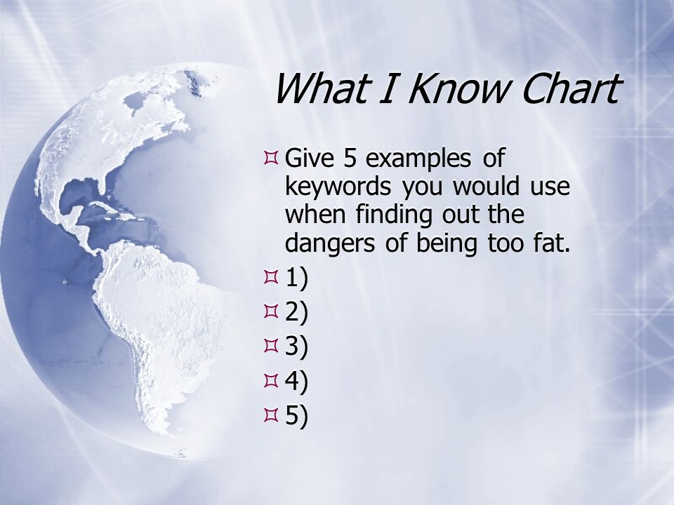 What I Know Chart Give 5 examples of keywords you would use when finding out the dangers of being too fat.