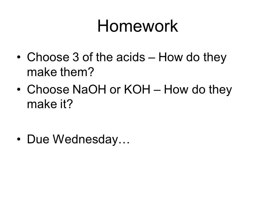 Homework Choose 3 of the acids – How do they make them.