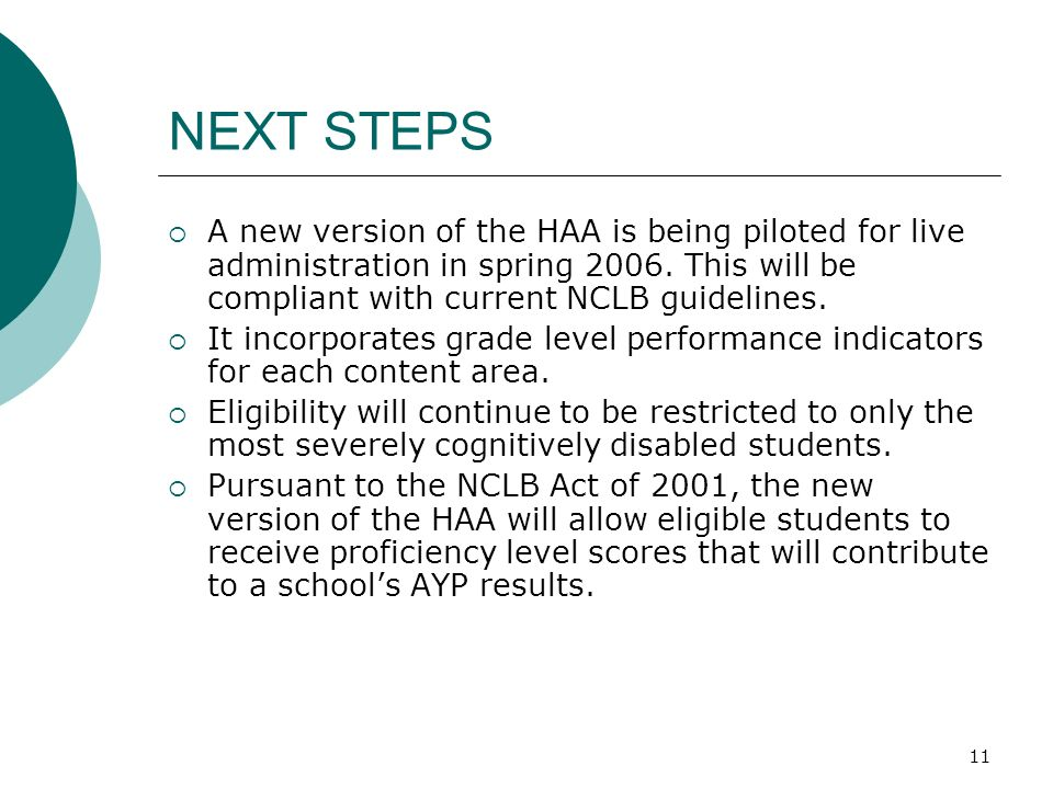 11 NEXT STEPS A new version of the HAA is being piloted for live administration in spring 2006. This will be compliant with current NCLB guidelines. I