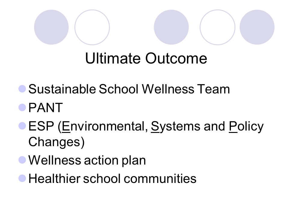Ultimate Outcome Sustainable School Wellness Team PANT ESP (Environmental, Systems and Policy Changes) Wellness action plan Healthier school communiti