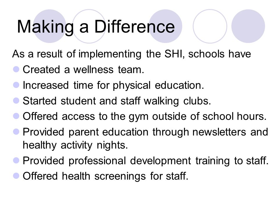 Making a Difference As a result of implementing the SHI, schools have Created a wellness team. Increased time for physical education. Started student