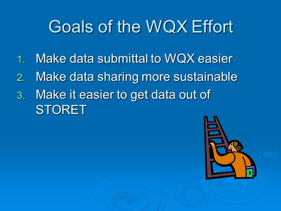 Goals of the WQX Effort 1. Make data submittal to WQX easier 2.