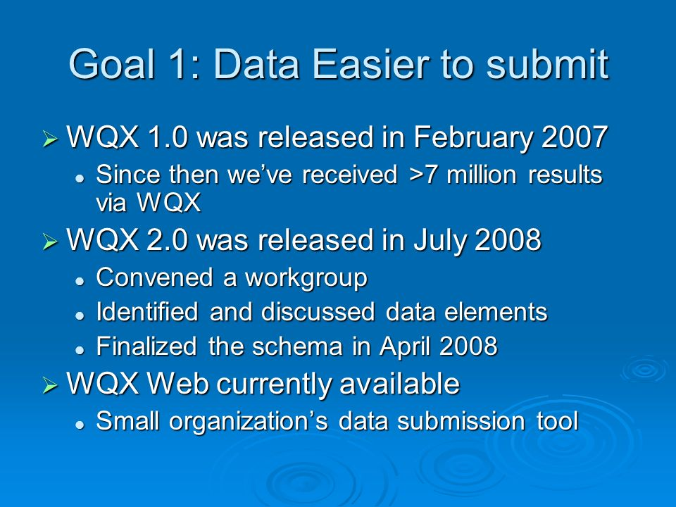 Goal 1: Data Easier to submit WQX 1.0 was released in February 2007 WQX 1.0 was released in February 2007 Since then weve received >7 million results via WQX Since then weve received >7 million results via WQX WQX 2.0 was released in July 2008 WQX 2.0 was released in July 2008 Convened a workgroup Convened a workgroup Identified and discussed data elements Identified and discussed data elements Finalized the schema in April 2008 Finalized the schema in April 2008 WQX Web currently available WQX Web currently available Small organizations data submission tool Small organizations data submission tool