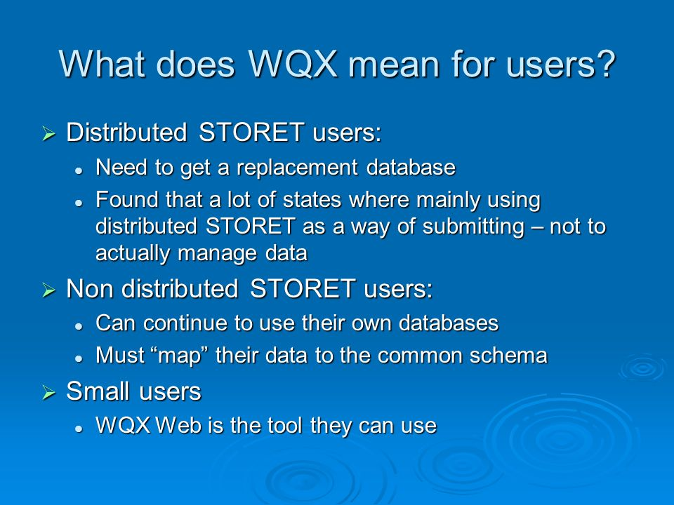 What does WQX mean for users.