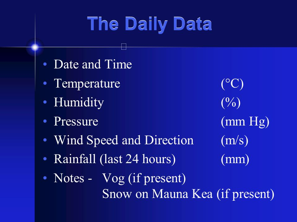 The Daily Data Date and Time Temperature(°C) Humidity(%) Pressure(mm Hg) Wind Speed and Direction(m/s) Rainfall (last 24 hours)(mm) Notes - Vog (if present) Snow on Mauna Kea (if present)