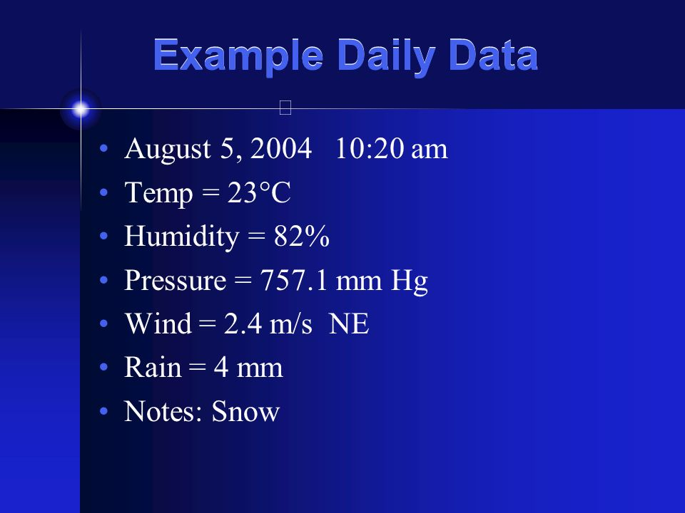 Example Daily Data August 5, 2004 10:20 am Temp = 23°C Humidity = 82% Pressure = 757.1 mm Hg Wind = 2.4 m/s NE Rain = 4 mm Notes: Snow