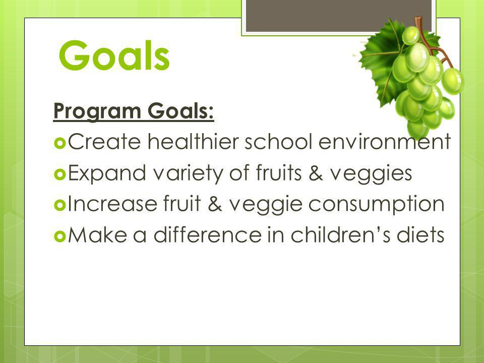 Goals Program Goals: Create healthier school environment Expand variety of fruits & veggies Increase fruit & veggie consumption Make a difference in c