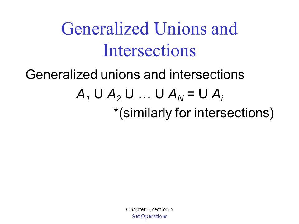 Chapter 1, section 5 Set Operations Generalized Unions and Intersections Generalized unions and intersections A 1 U A 2 U … U A N = U A i *(similarly