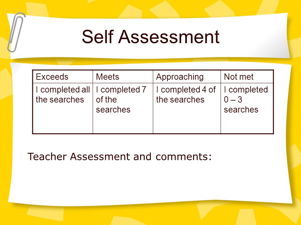Self Assessment ExceedsMeetsApproachingNot met I completed all the searches I completed 7 of the searches I completed 4 of the searches I completed 0 – 3 searches Teacher Assessment and comments: