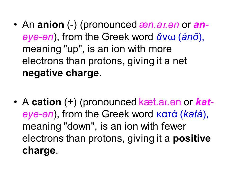 An anion (-) (pronounced æn.a ɪ.ən or an- eye-ən), from the Greek word νω (ánō), meaning