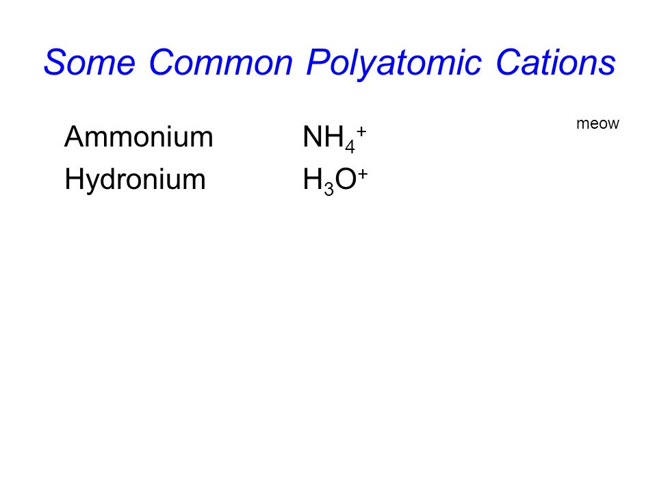 Some Common Polyatomic Cations AmmoniumNH 4 + HydroniumH 3 O + meow