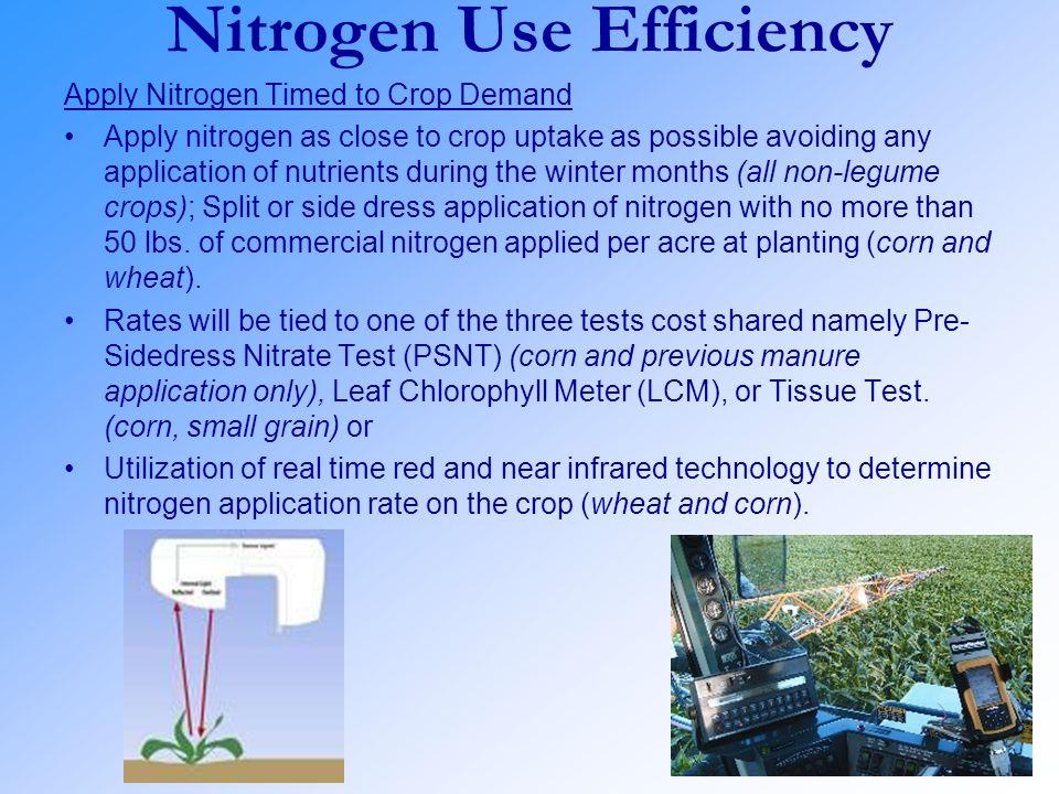 Nitrogen Use Efficiency Apply Nitrogen Timed to Crop Demand Apply nitrogen as close to crop uptake as possible avoiding any application of nutrients d