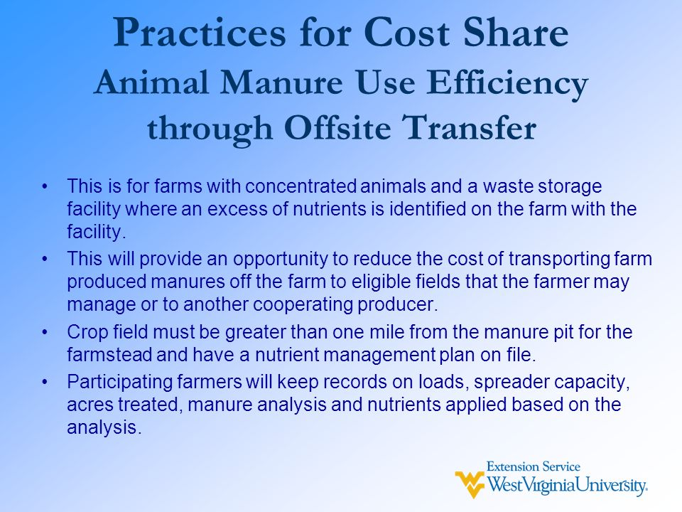 Practices for Cost Share Animal Manure Use Efficiency through Offsite Transfer This is for farms with concentrated animals and a waste storage facilit