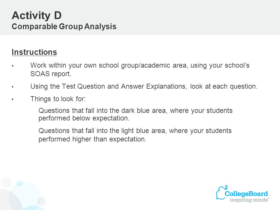 Instructions Work within your own school group/academic area, using your schools SOAS report. Using the Test Question and Answer Explanations, look at
