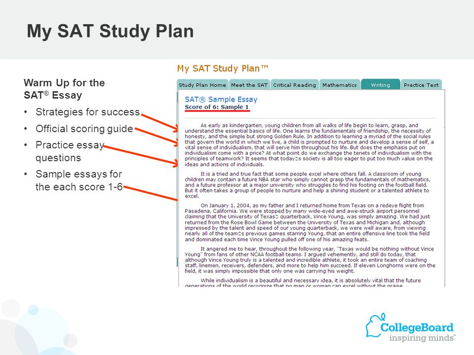 My SAT Study Plan Warm Up for the SAT ® Essay Strategies for success Official scoring guide Practice essay questions Sample essays for the each score