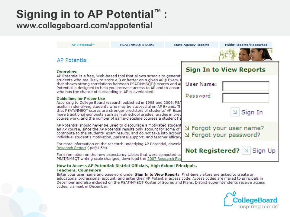 Signing in to AP Potential : www.collegeboard.com/appotential